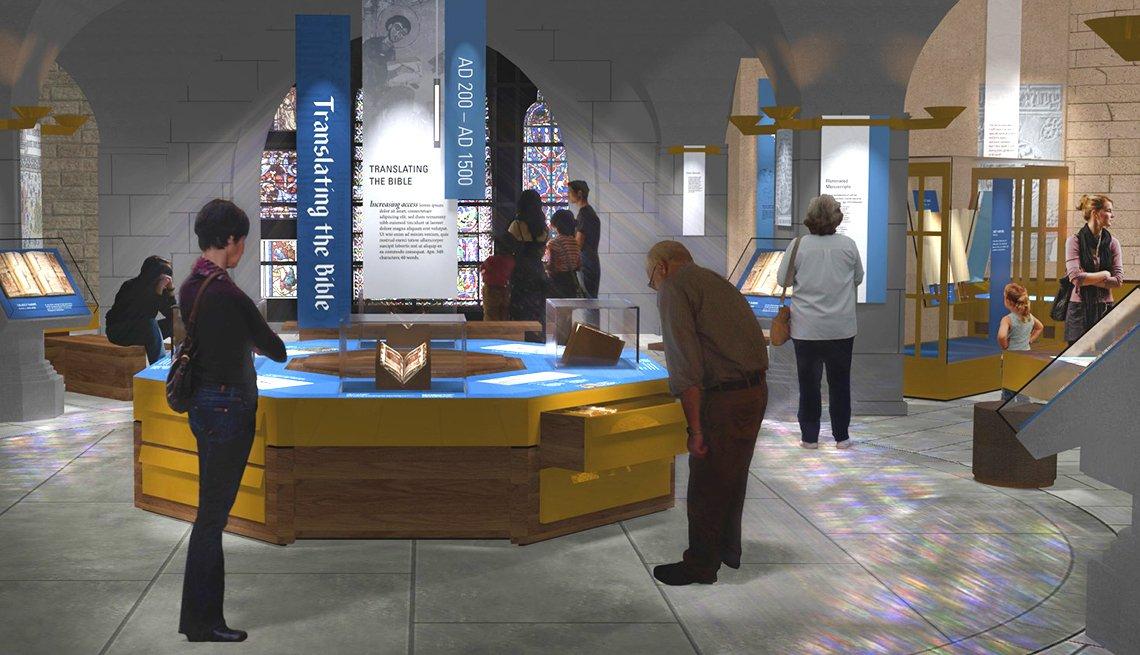 El Museo de la Biblia - Visitantes dentro del Mueseo de la Biblia en Washington DC