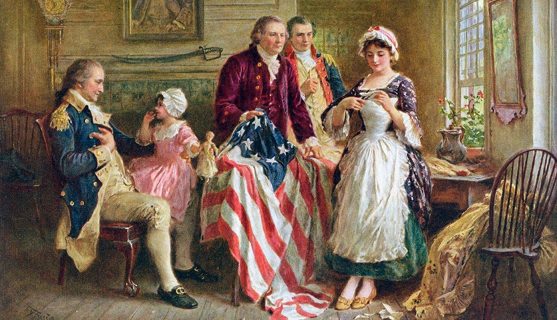 Pintura de Betsy Ross con la bandera americana al lado de George Washington