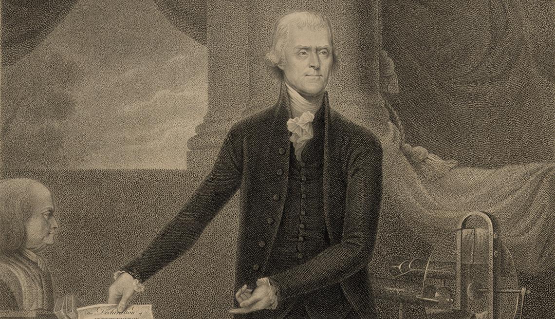 item 9 of Gallery image - Portrato a blanco y negro de Thomas Jefferson