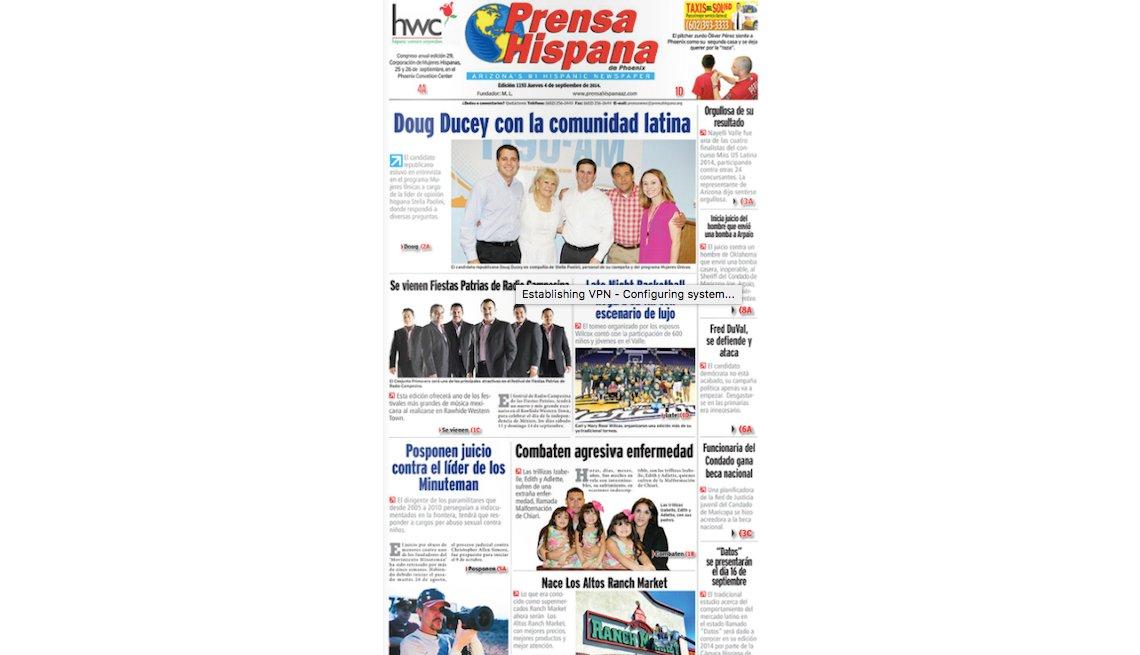 Foto de periódico La Prensa Hispana.