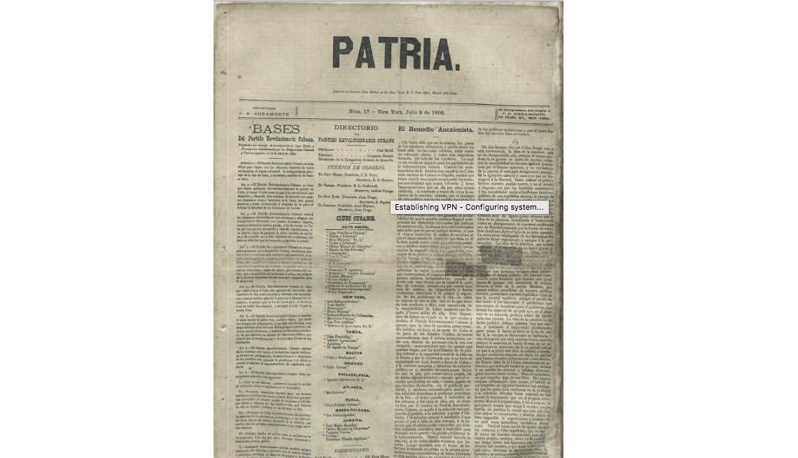 Imagen a blanco y negro de un periódico La Patria