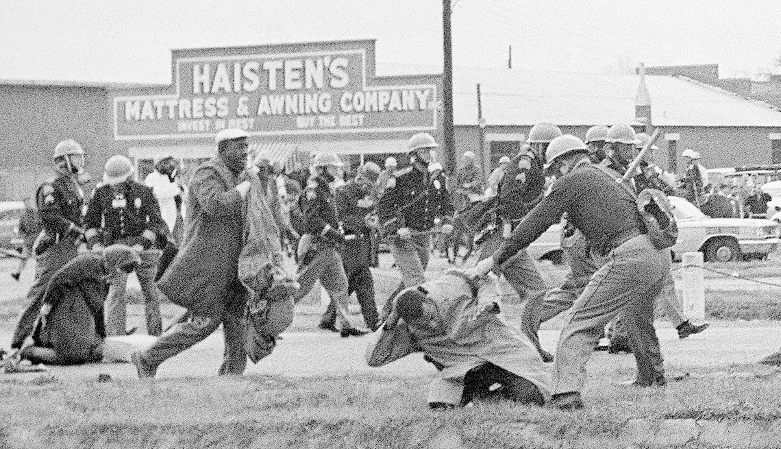man being beaten by police during march in selma, alabama