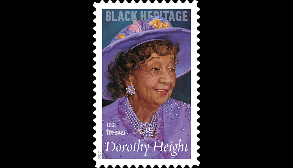 stamp featuring older african-american woman in purple top and matching hat