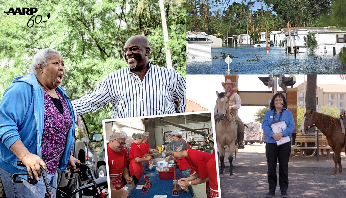 Imágenes de socios de AARP que recibieron ayuda de la organización y que ahora ayudan a otras personas.