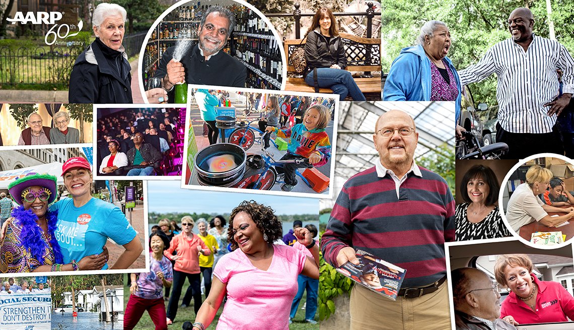 AARP members celebrating milestone events