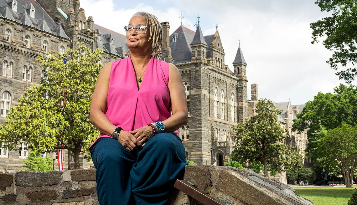 Melisande Short-Colomb sits outside Georgetown University