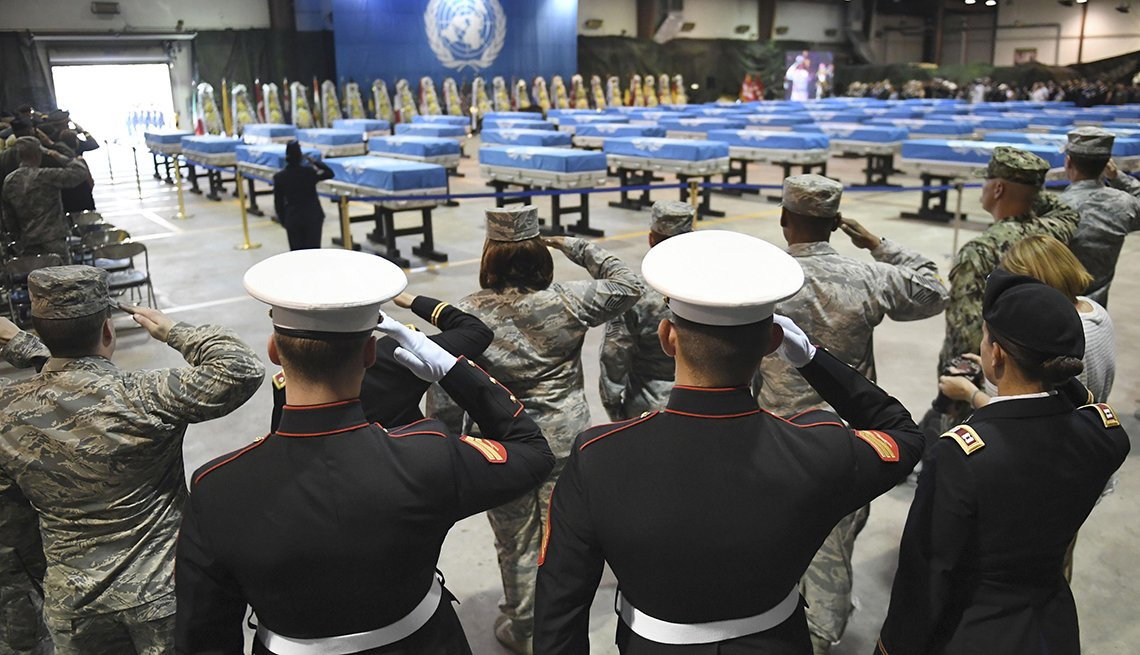 U S service members during a ceremony in South Korea marking the recent repatriation from North Korea of some remains of U S soldiers killed in the Korean War.