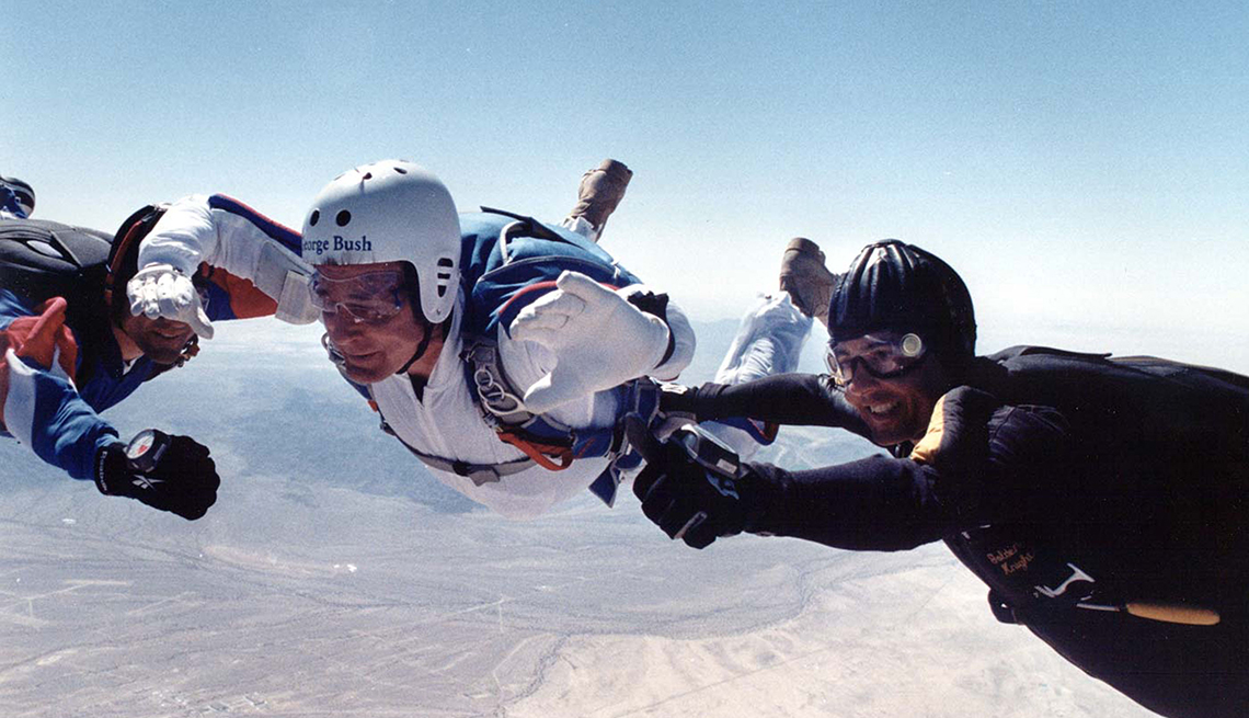 President George H. W. Bush skydiving