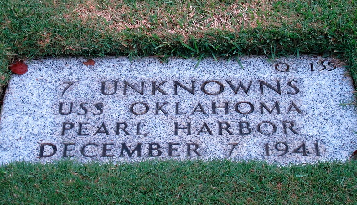 Gravestone for seven unknown people killed when the U S S Oklahoma sank during the attack on Pearl Harbor