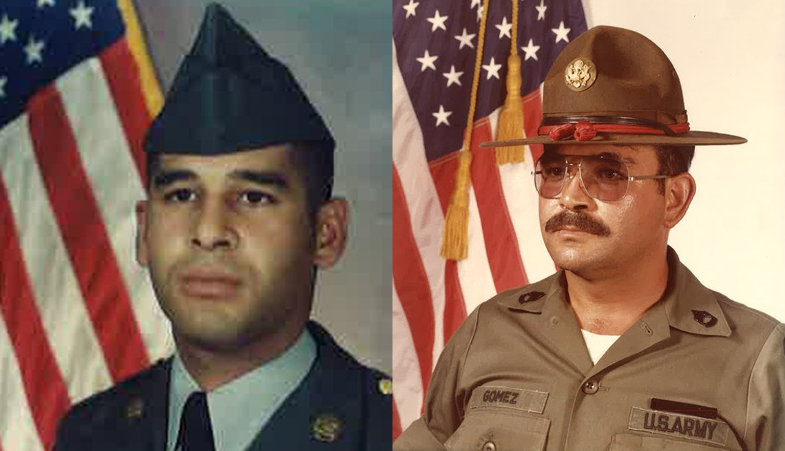 Gumersindo Gomez, right, in 1983, and his son Giovanni, left, in 1989, both served in the Army.