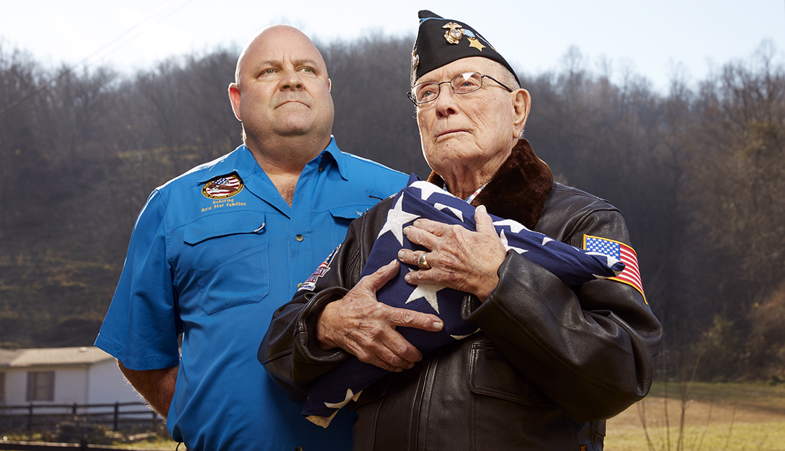 """Hershel """"Woody"""" Williams, right, 95 at the time of this photograph, is pictured with grandson Brent Casey, 50."""