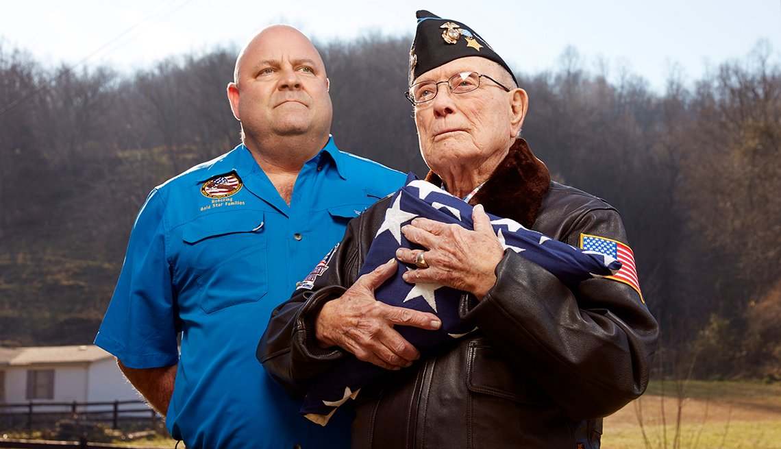 "Hershel ""Woody"" Williams, right, 95 at the time of this photograph, is pictured with grandson Brent Casey, 50."