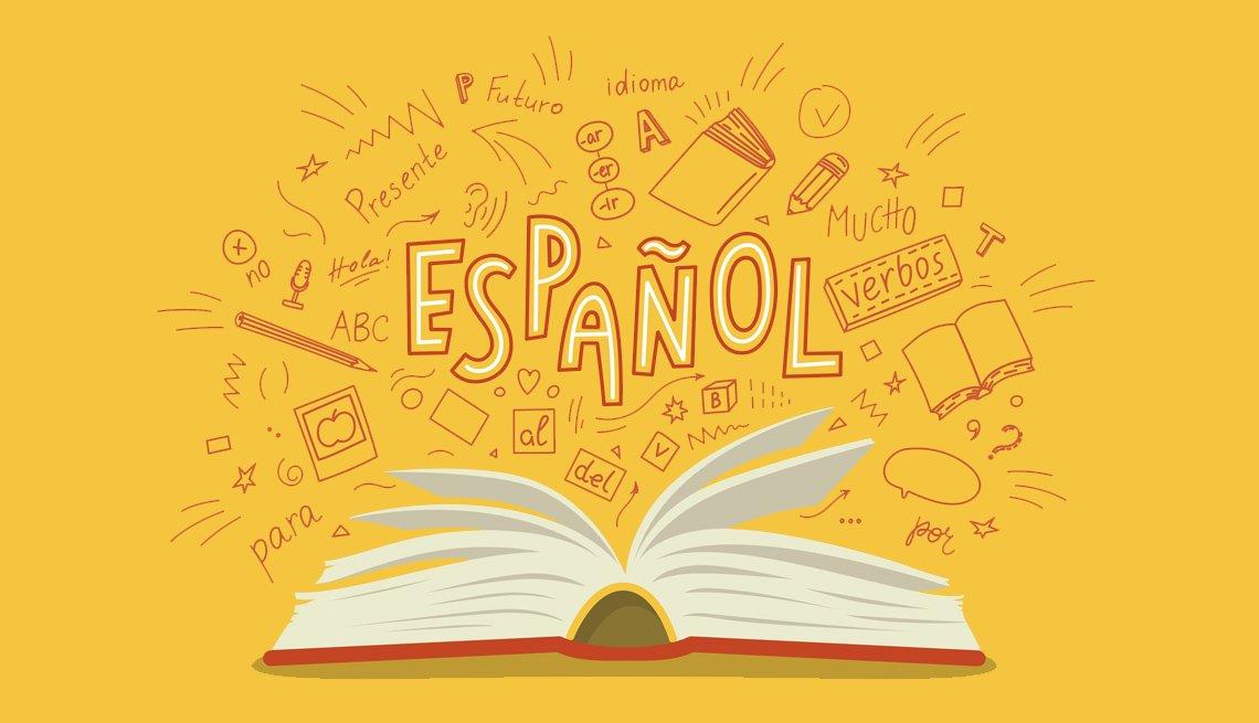 Gráfica de libro abierto con la palabra español escrita encima