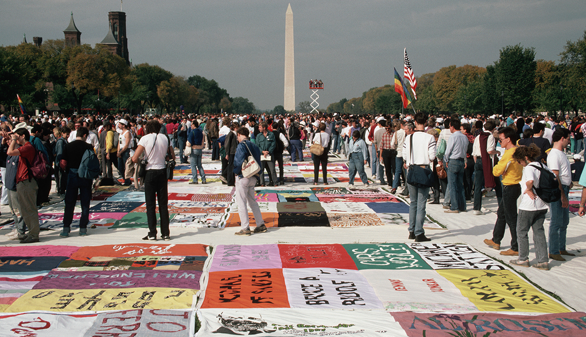 item 4 of Gallery image - The AIDS Memorial Quilt is shown for the first time on the Mall in Washington D C