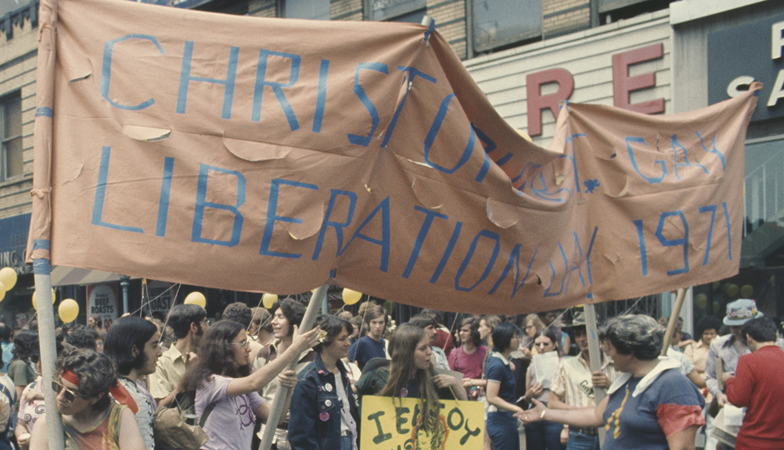 item 2, Gallery image. Participants march through New York City for the second annual Christopher Street Gay Liberation Day, later called Gay Pride Day, in 1971.