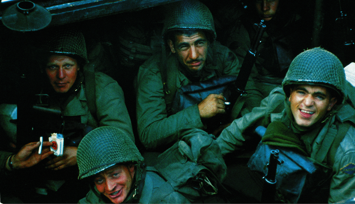 United States Rangers waiting on a boat prior to the D Day invasion