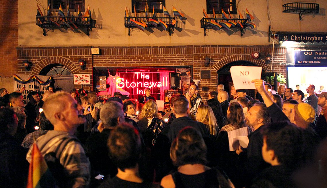 People participate at a rally outside the Stonewall Inn