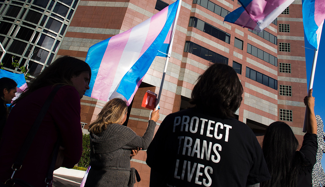 item 6 of Gallery image - Members of the transgender and gender non binary community and their allies gather to celebrate International Transgender Day of Visibility