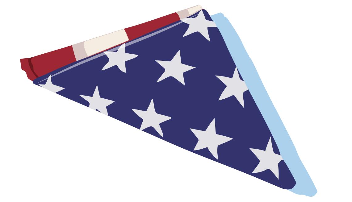 illustration of a folded US flag