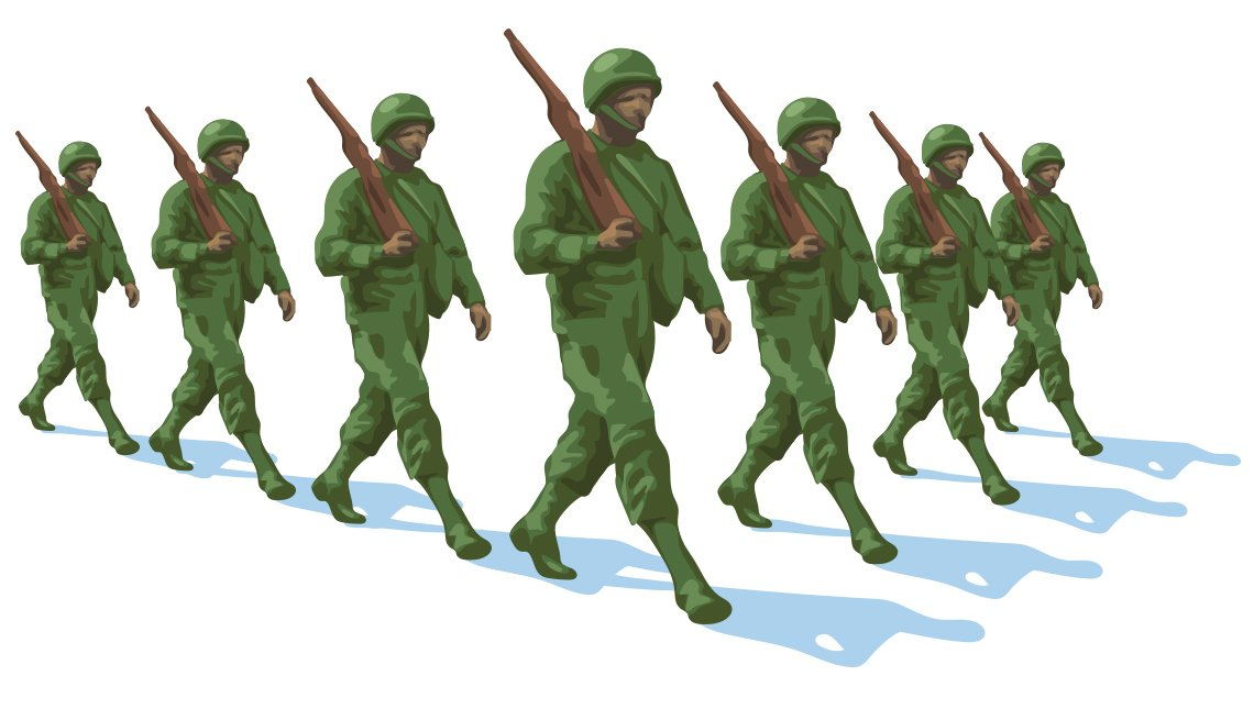 illustration of a formation  of soldiers