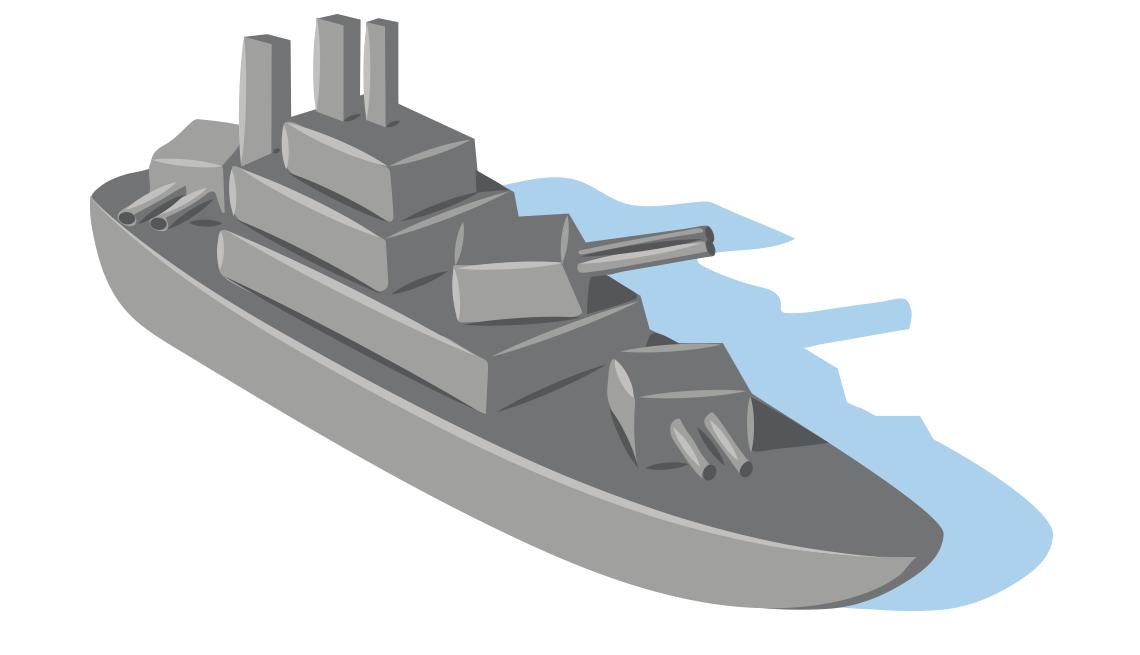 illustration of a WWII-era warship