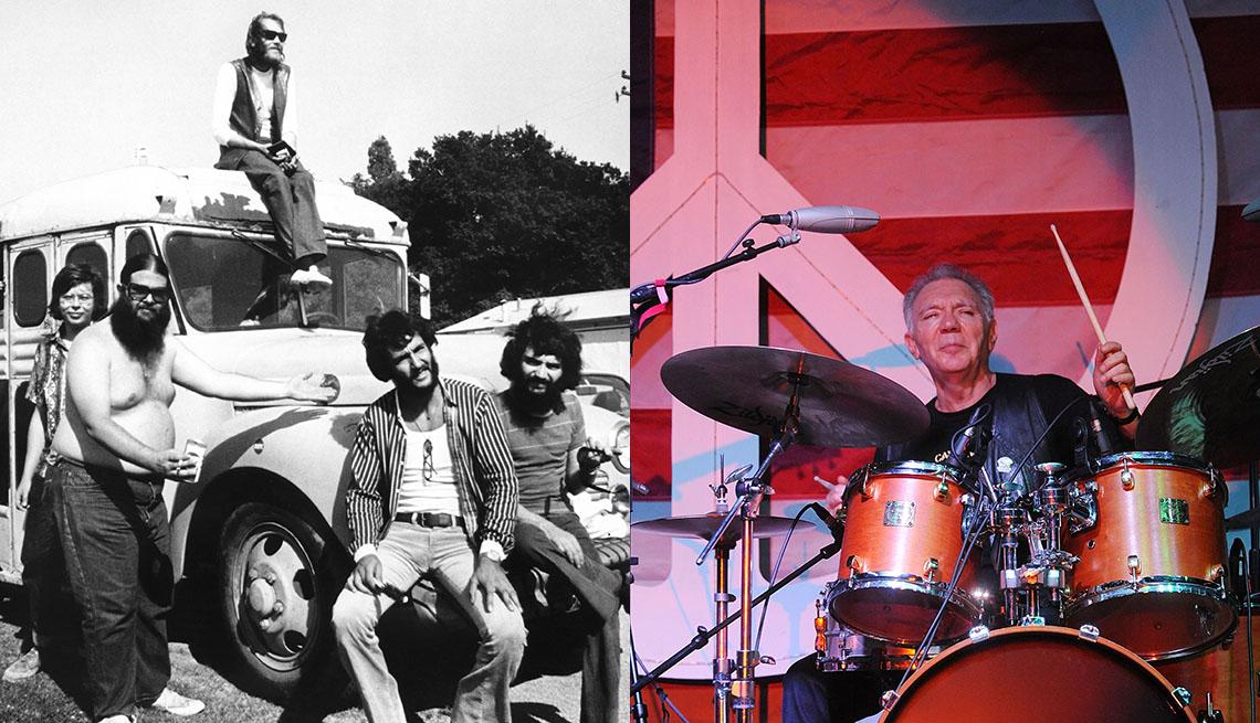 Integrantes de la banda Canned Heat en 1960 y Adolfo de la Parra en 2015