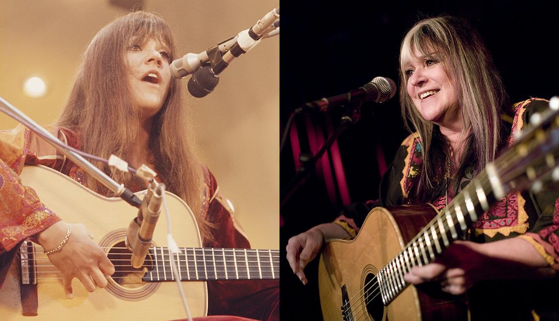 Melanie Safka en un concierto en 1972 y 2006