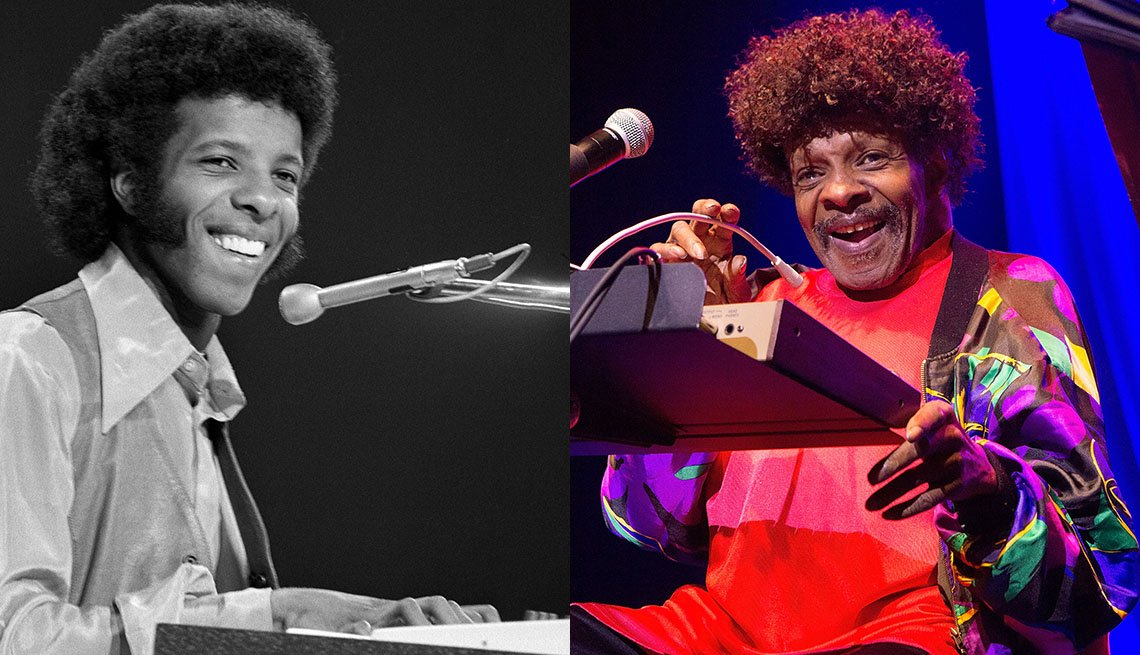 Sly Stone performing in 1969 and 2015