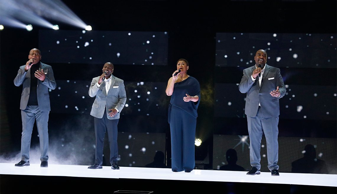 Four members of Voices of Service perform at the America's Got Talent Finals