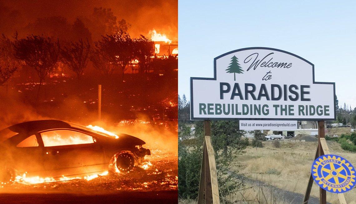 Dos imágenes de Paradise en California. A la izquierda se ve el incendio del 2018 y a la derecha un letrero relacionado con la reconstrucción de la ciudad
