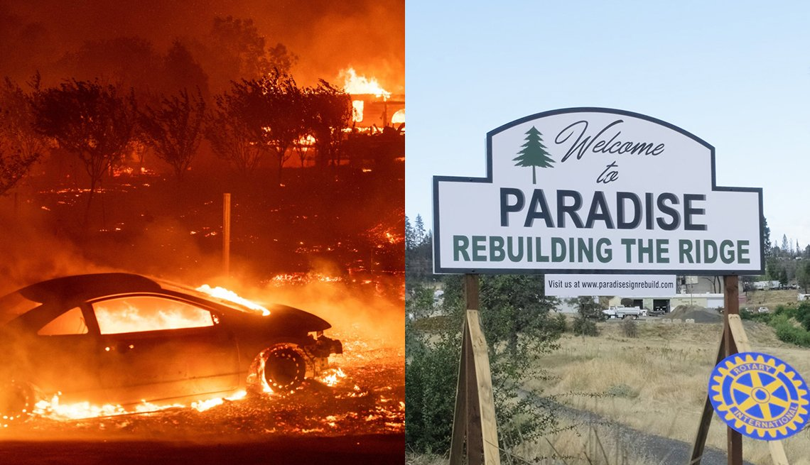 diptych image. on the left is a scene from the wildfire raging in the town of paradise showing flames and a burning car. on the right is a white sign that says welcome to paradise rebuilding the ridge