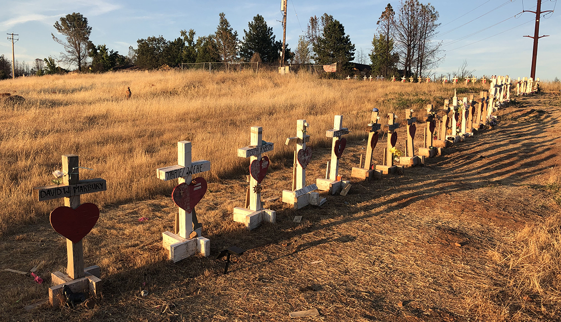 item 1 of Gallery image - a row of wooden memorial crosses lined up along a trail in paradise, california