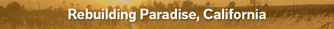 rebuilding paradise california banner with text overlaid on a scene of sun shining on a field