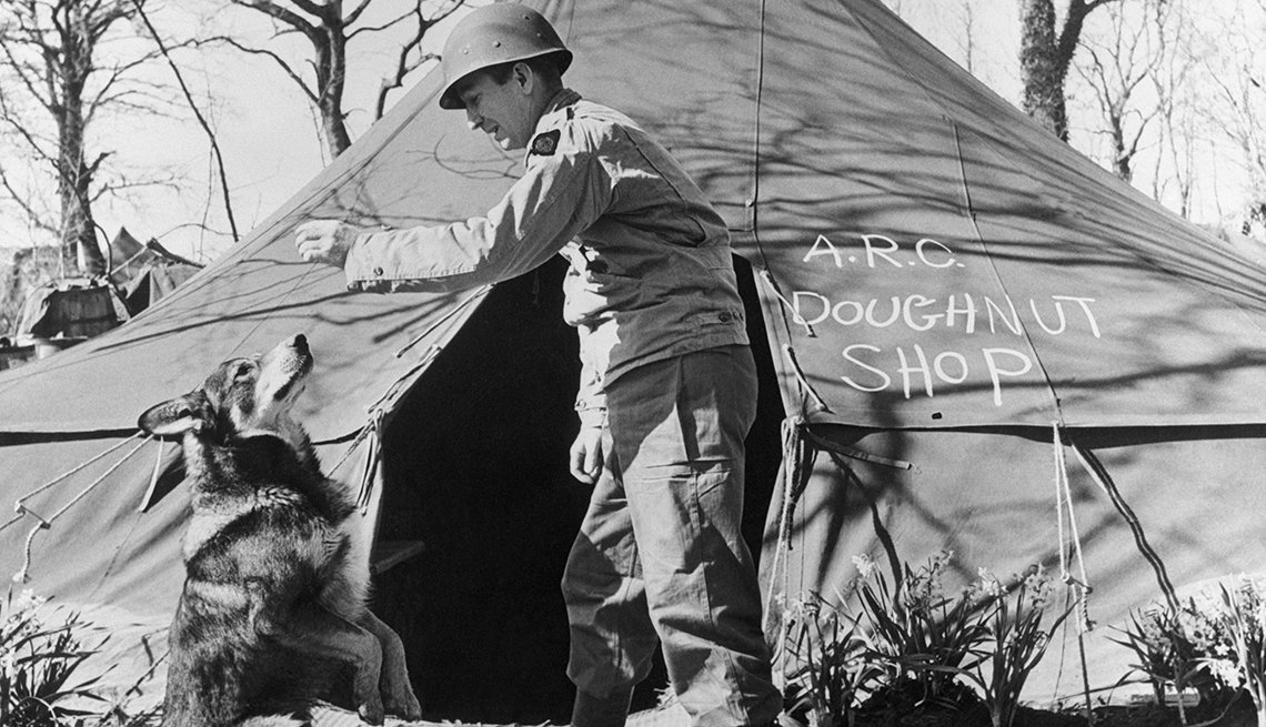 A dog begging for food outside of a military tent
