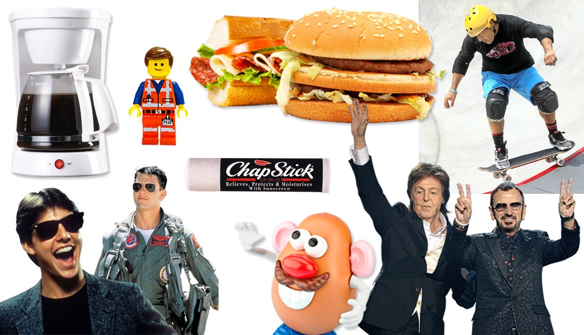 collage of images including electric drip coffee maker, lego and mr potato head toys, subway and big mac sandwiches, skateboarding, the beatles, chapstick, and tom cruise wearing both aviator and ray ban sunglasses