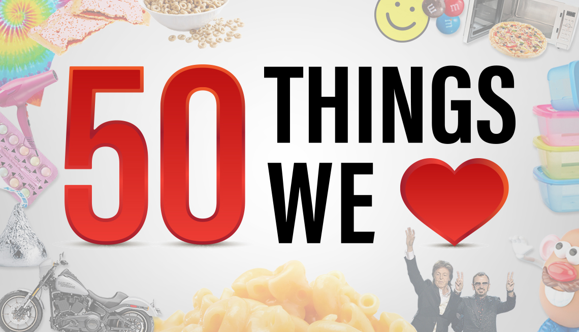 text that reads 50 things we love with a heart symbol standing in for the word love. the text is surrounded by ghosted images of people and items such as mac and cheese a motorcycle mr potato head and more