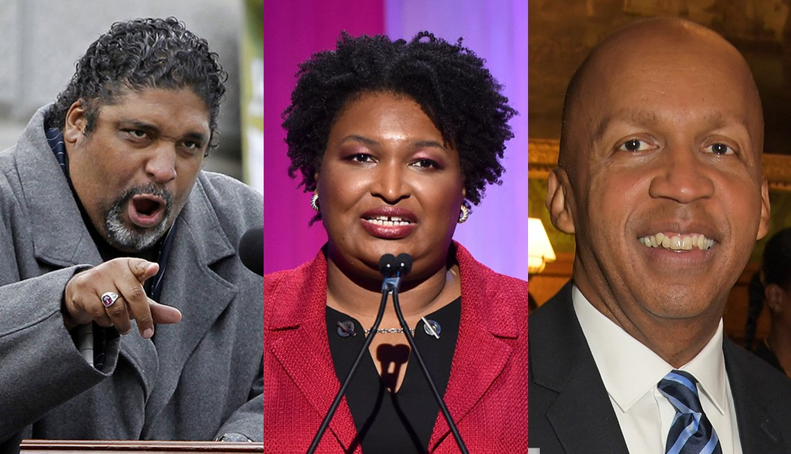 Trifold image of The Rev. William Barber II, Stacey Abrams and Bryan Stevenson