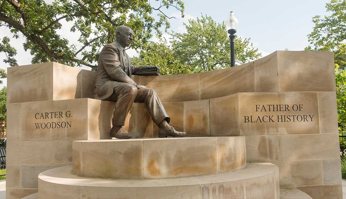 Carter G Woodson memorial park statue Washington DC