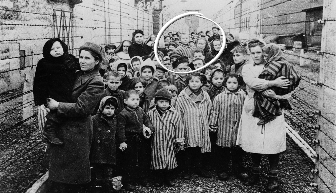 A group of women and children are liberated from the concentration camp Auschwitz