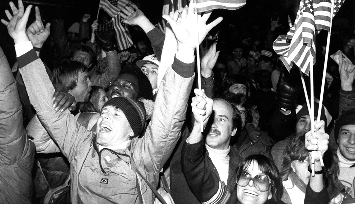 item 2 of Gallery image - Fans celebrate the Miracle on Ice