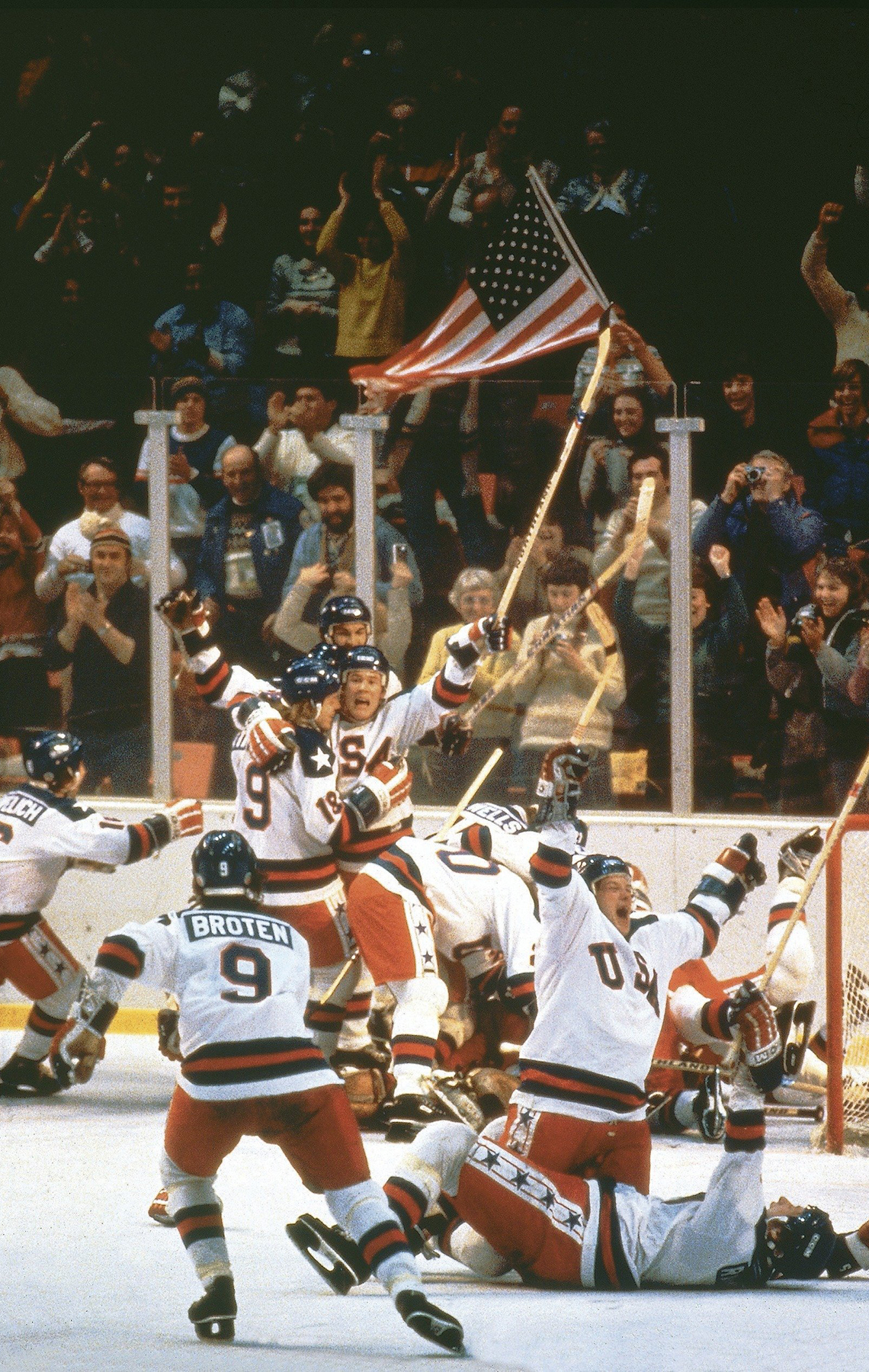 Players on the U S Mens Hockey team celebrate their victory over the Soviet Union