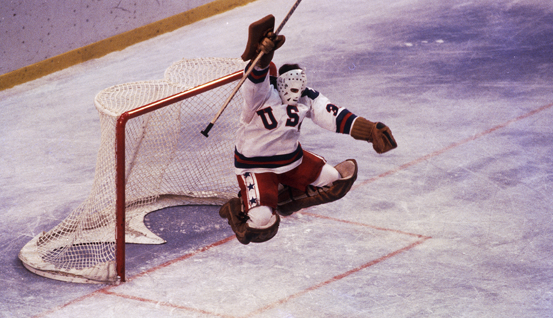 item 3 of Gallery image - Goalie Jim Craig celebrates the team U S A victory over the Soviet Union in the winter olympics