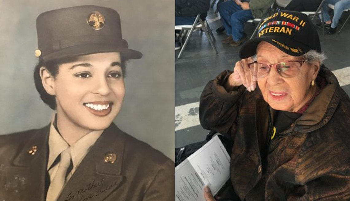 Hilda P Griggs during World War Two and a more recent image of her