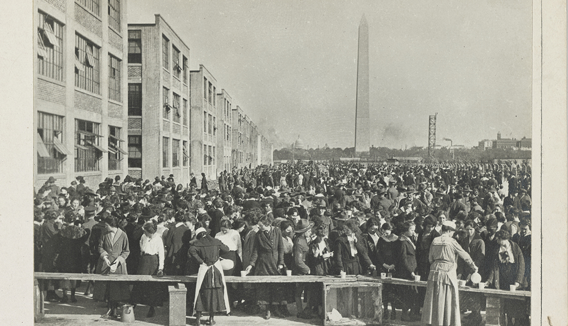 item 1 of Gallery image - munitions workers in washington dc line up for hot chocolate outdoors