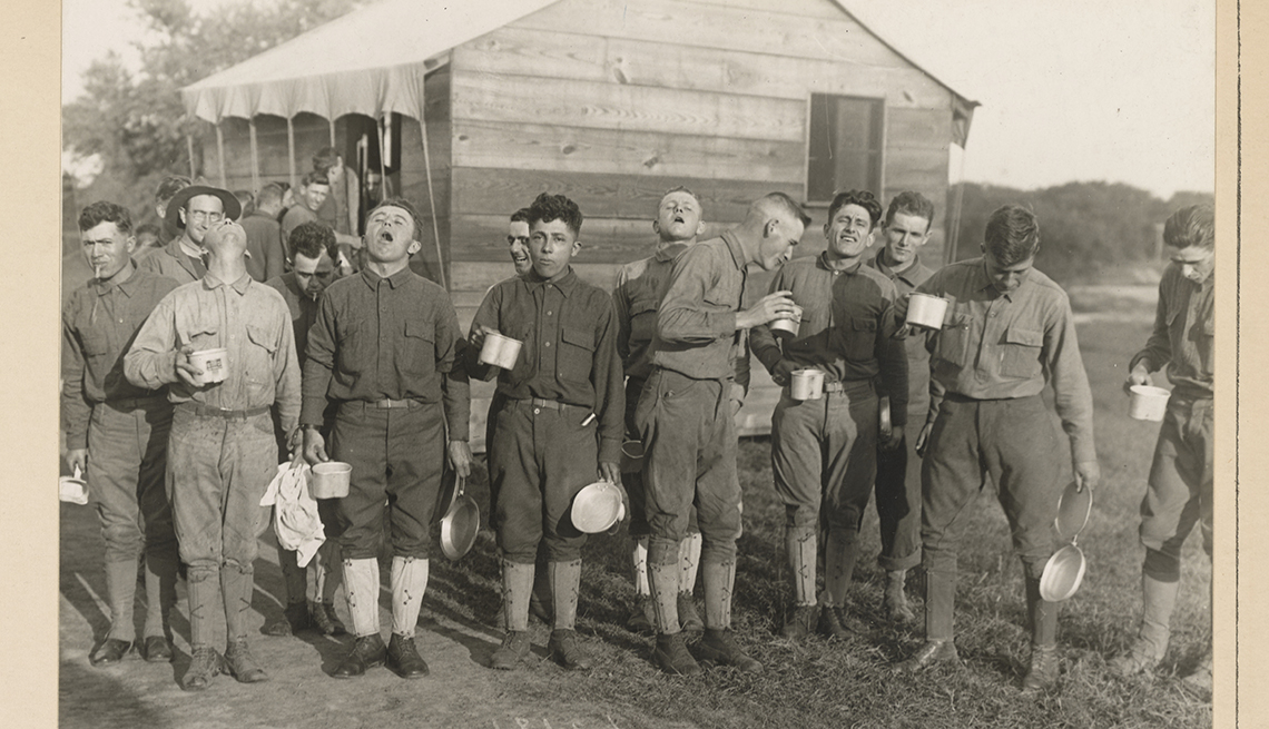 item 3 of Gallery image - a group of soldiers gargle with salt water in this historical photo from nineteen eighteen