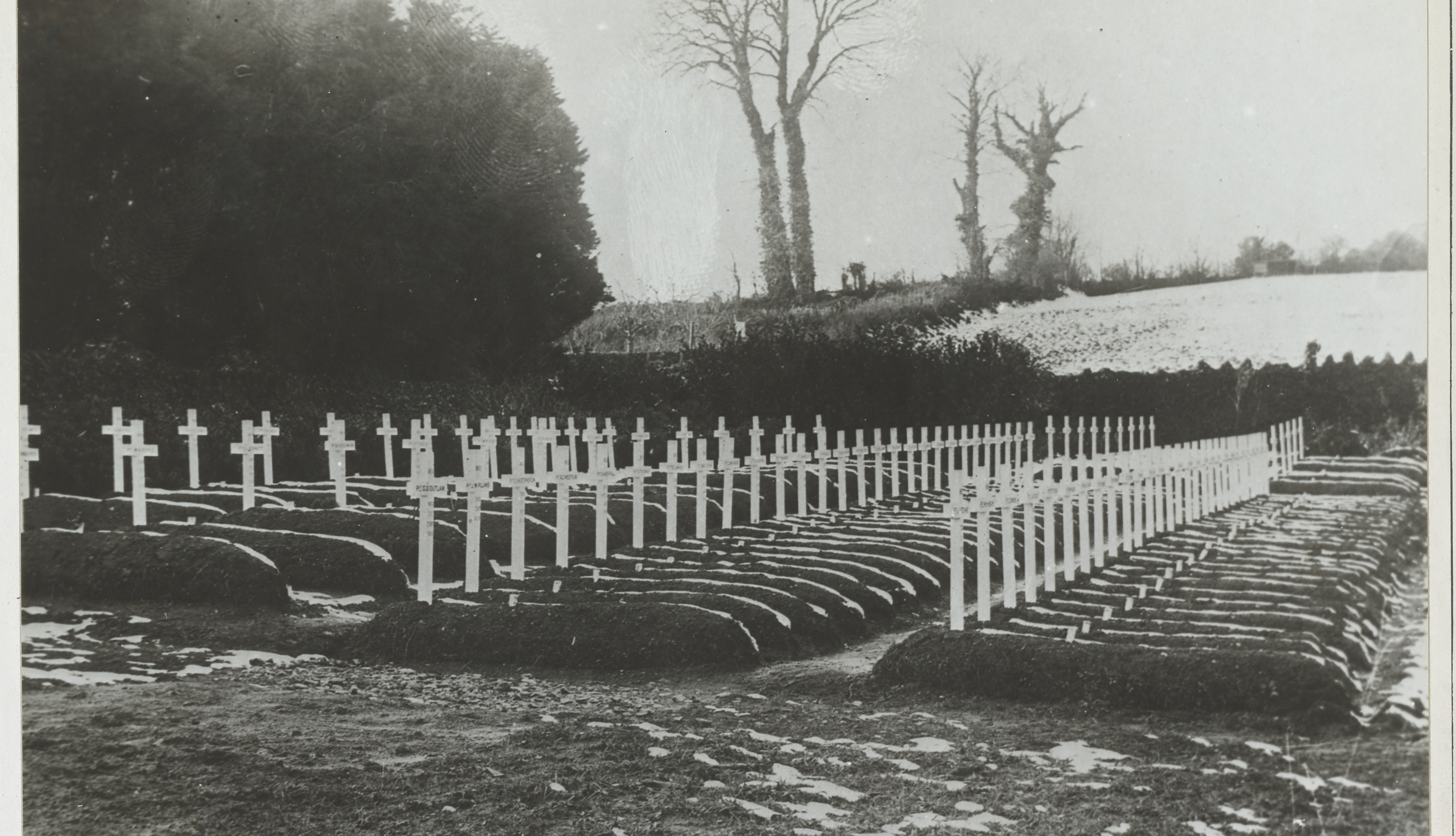 item 9 of Gallery image - black and white photo of graves of one hundred american soldiers who died of flu in devon england