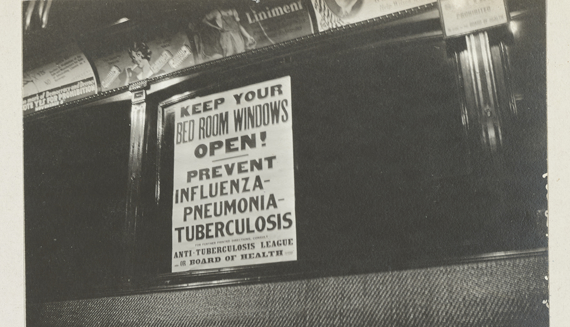 item 7 of Gallery image - flyer in a trolley car telling people to keep their windows open to prevent the spread of influenza in nineteen eighteen