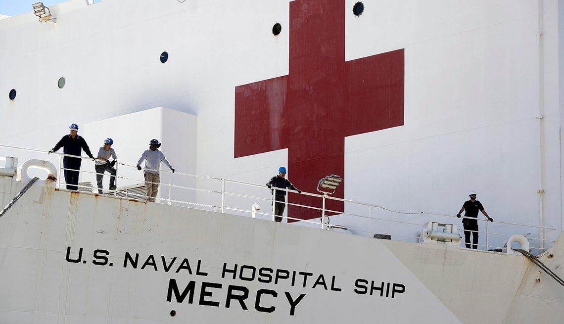 Usns Mercy Arrives In Los Angeles For Coronavirus Help