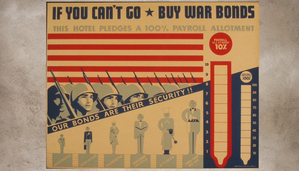 item 8 of Gallery image - Cartel antiguo con imágenes de soldados publicitando la compra de bonos de guerra