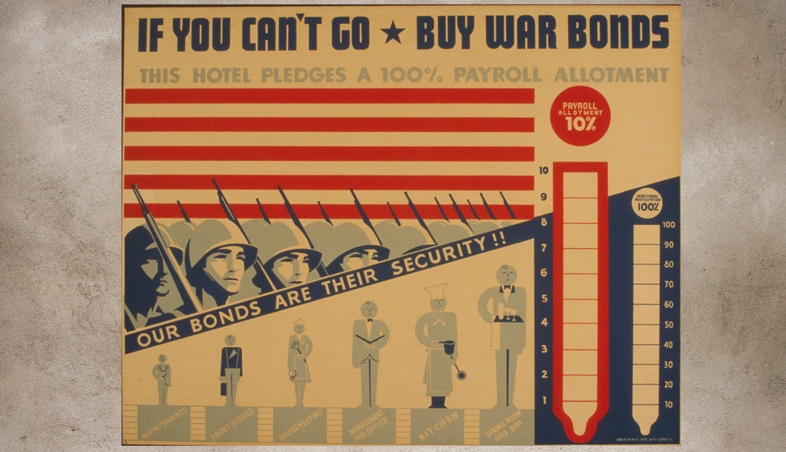 item 8 of Gallery image - old poster with images  of bayoneted soldiers and savings charts advertising buying war bonds